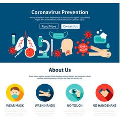 Coronavirus prevention website design vector