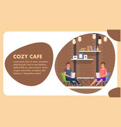 Cozy cafe cartoon banner trendy comfort decor vector