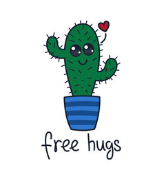 Cute cactus t-shirt print free hugs hand drawn vector