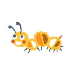 Cute cartoon caterpillar colorful character vector