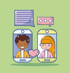 cute couple chatting cartoon vector image