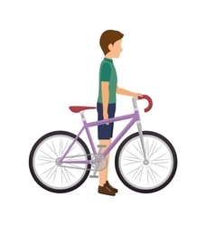Cyclist man bicycle vector