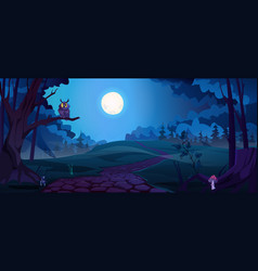 Dark scary night scene forest with owl on tree vector