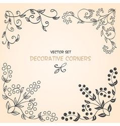 Decorative floral corners vector