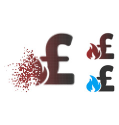 Dispersed pixel halftone pound financial fire icon vector