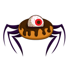 donut halloween spider icon cartoon style vector image