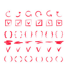 doodle check marks hand drawn lines red pen tick vector image