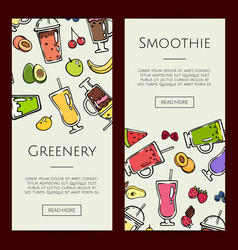 doodle smoothie web banner templates vector image