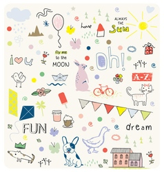 Doodles cute pattern vector
