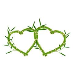 Double heart bamboo frame vector