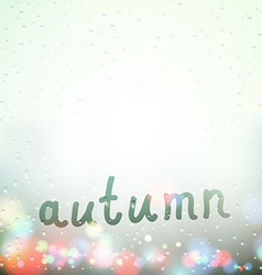Fall word written on Sweaty Window vector image