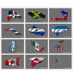 Flags in the form of states vector image