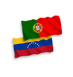 Flags venezuela and portugal on a white vector