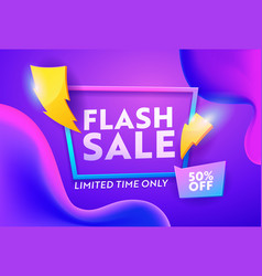 Flash sale discount poster online banner design vector