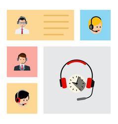 Flat hotline set of hotline headphone call vector