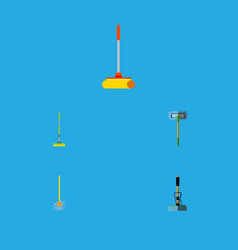 flat icon cleaner set of cleaner besom equipment vector image
