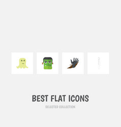 flat icon festival set of spirit zombie skeleton vector image
