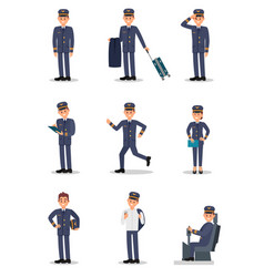 flat set with pilot in different actions vector image