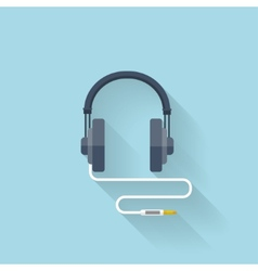 Flat web icon Headphones vector image