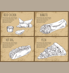 fried chicken mexican burrito vector image