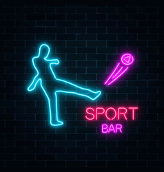 glowing neon signboard of sport bar on a dark vector image