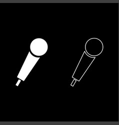 hand microphone icon set white color flat style vector image