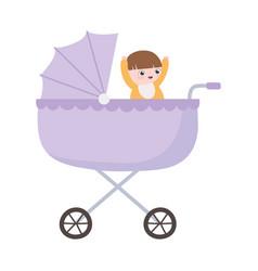 happy bain pram cartoon isolated icon style vector image