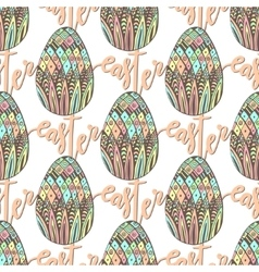 Happy Easter pattern with decorated hand drawn vector