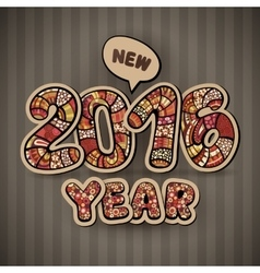 Happy New Year 2016 Decorative hand drawn vector image