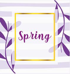 hello spring purple phrase leaves decoration vector image