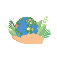 human hands holding flowering earth globe save vector image