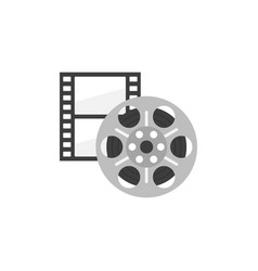 Icon of film strip and reel in flat style vector