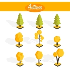 Isometric Autumn trees set vector