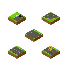 Isometric way set of flat navigation underground vector
