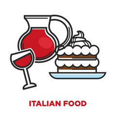 italian food promotional poster with wine and vector image