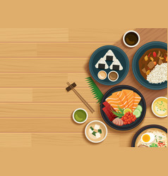 Japanese food on top view wooden background vector