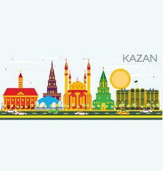 Kazan skyline with color buildings and blue sky vector