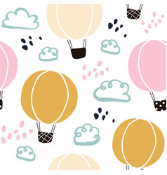 Kids hand drawn seamless pattern with balloons vector