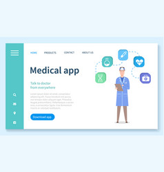 landing page medical website medical app vector image