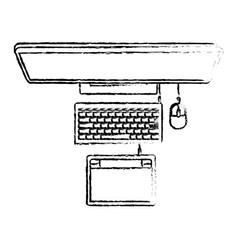 laptop computer and digitizer tablet connection on vector image