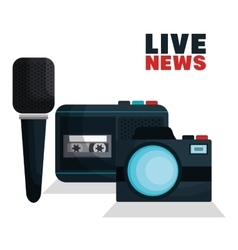 Live news equipment icon vector