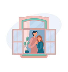 Loving couple resting near window at home vector