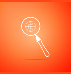 Magnifying glass with globe icon isolated vector