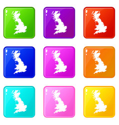Map great britain icons 9 set vector