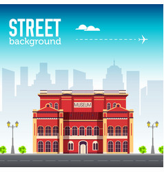museum building in city space with road on flat vector image