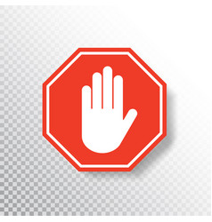 no entry hand sign on transparent background red vector image