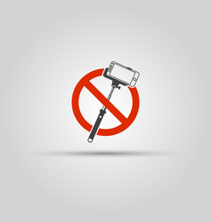 no selfie sticks isolated icon or sign vector image