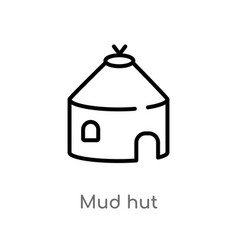 Outline mud hut icon isolated black simple line vector