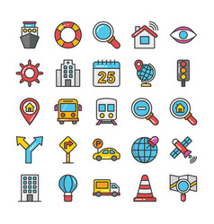 Pack maps and navigation flat icons vector