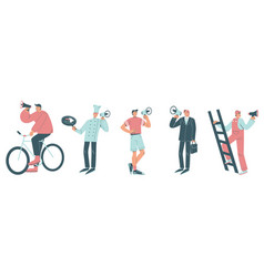 people with megaphones flat isolated vector image